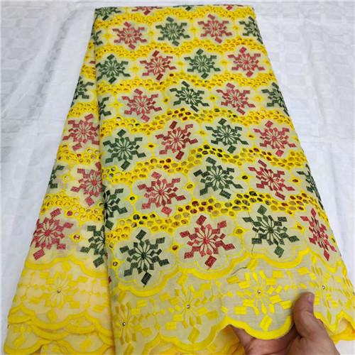 Eyelet Cotton Women Dress Swiss Voile Lace High Quality Embroidered Fabric DIY Sewing African Lace Fabric A32AU152