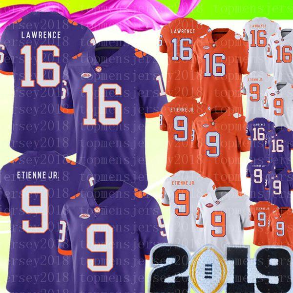 2019 NCAA Clemson Tigers 16 Trevor Lawrence Jersey Hombres 9 Travis Etienne Jr. Camisetas de fútbol de la universidad Ventas baratas Parche de campeonato