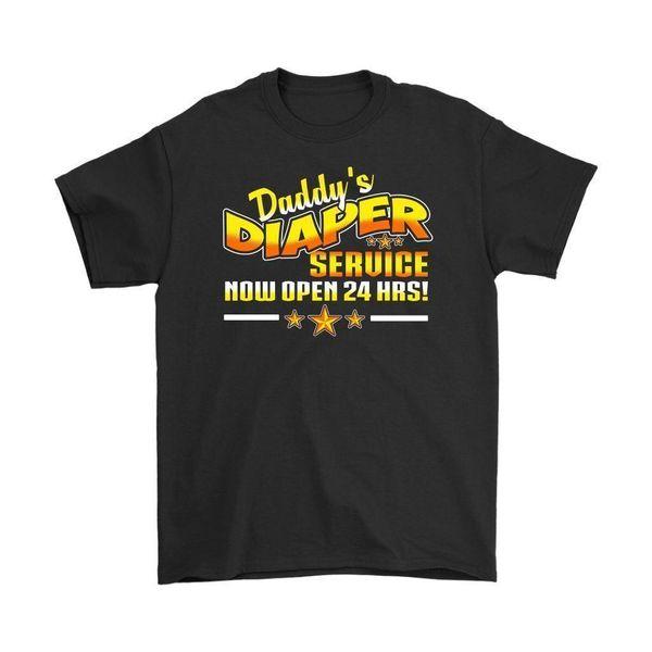 Camisa divertida de papá papá El servicio de pañales de Daddys ahora está abierto las 24 horas Camiseta para hombre 2018 Nueva camiseta de manga corta casual Camiseta