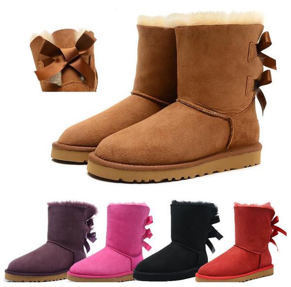 2019 HOT SALE wgg luxury Nueva moda Clásico australiano botas bajas de invierno de cuero real Bailey Bowknot bailey bow ug para mujer botas de nieve