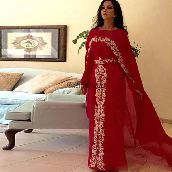 Long Sleeve Red Muslim Evening Dresses with Cape Gold Appliques Sheath Chiffon Formal Saudi Arabic Evening Gowns for Women abendkleid