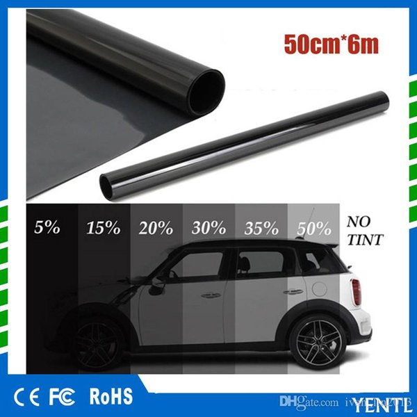 yentl wholesales 50cm x 6M Black Glass Window Tint Shade Film VLT 5% Auto Car House Roll PLY Auto Glass Solar Protection