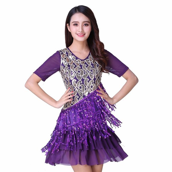 2019 Plus Size Great Gatsby Dress Adult Performance Costumes V Collar Short  Sleeve Sequin Tiered Fringe Latin Dance Dress Fancy From Alfreld, $54.7 |  ...