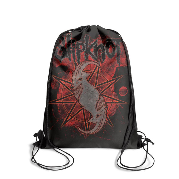 Drawstring Sports Backpack Slipknot logo popular durable cinch Travel Fabric Backpack