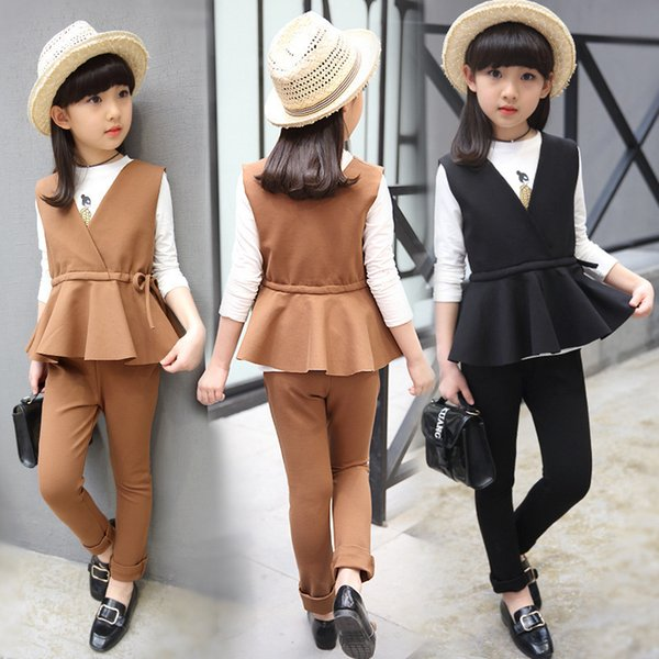 Baby girl clothing children's suit 2019 spring and autumn explosion models Korean children fashion girl shirt + vest 3 piece set