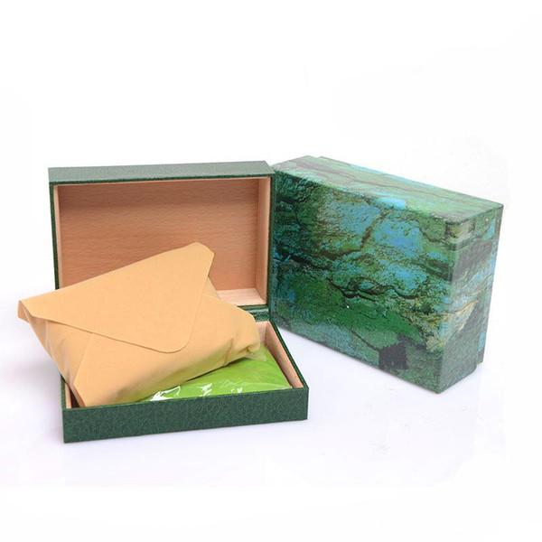 2019 Factory luxe boîtes vert boîte originale carte Coffret en bois Papiers portefeuille Boîtes Coffrets montre verte
