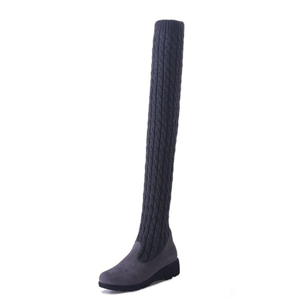 New Knitted Woman Shoes Flat Long Booboots Wool Spring and Winter Slope with Velvet Ladies Shoes Over the knee Black Boots