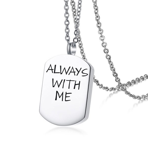 Relodi Stainless Steel Jewelry Simple Urn Necklace Can Open English Pendant Men Choker SP3065
