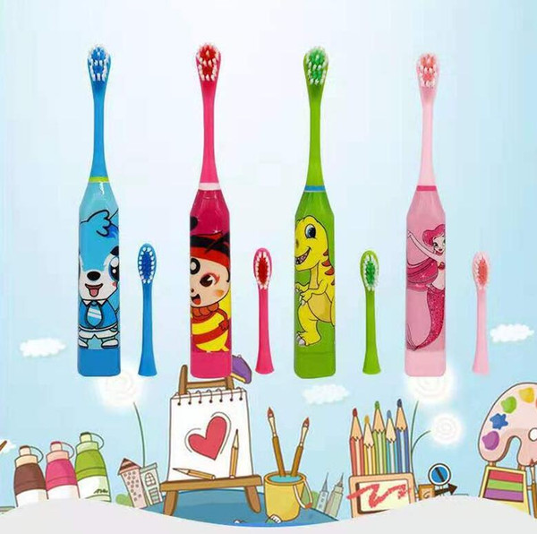 100Pcs Children Electric Toothbrush Cartoon Pattern Double-sided Tooth Brush Electric Teeth Brush For Kids with 2pcs Replacement Head