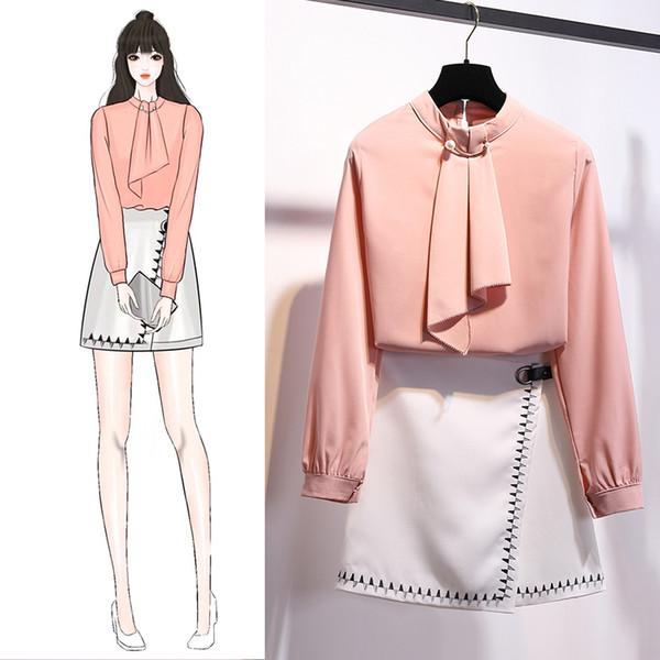 Conjuntos de ropa Conjunto de dos piezas de primavera verano Moda mujer Perla decoración O-cuello Blusas Tops y bordado Mini falda Set DZ262