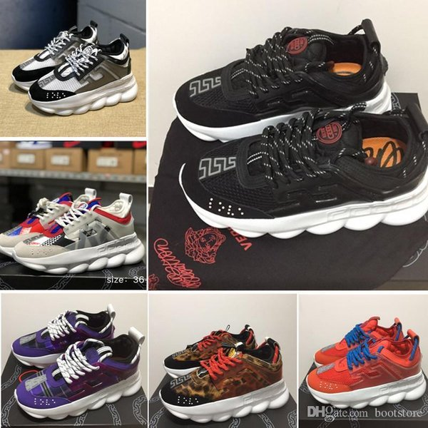 Versace Chain Reaction Sneakers Designer Shoes Luxury Brand Fashion Outdoor  Sport Casual Shoes Trainer Link Embossed Sole With Dust Bag High Top Shoes