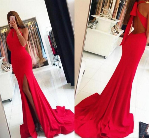 New Sexy Keyhole Red Mermaid Prom Dresses Side High Slit Open Back Criss Cross Simple Sleeveless Long Cocktail Party Dresses Cheap Plus Size