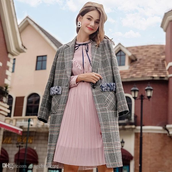 free shipping 2018 autumn and winter new women's lapel plaid wool coat temperament ladies woolen coat blends female outerwear