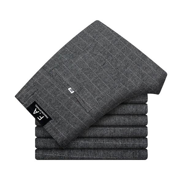Men Suit Pants Length Black Gray Business Plaid Trousers Men Formal Chinos Office Pants Male Trousers Slim Plus Size 40