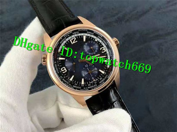 TWA Luxury Geographic WT Men Watch Power Reserve 936A/1 Automatic Movement Sapphire Crystal Rose Gold Case Blue Black Dial calfskin strap