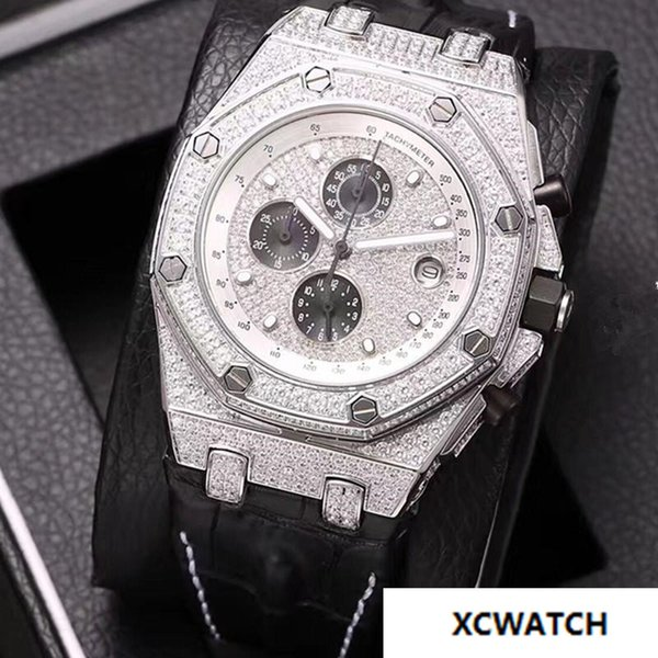 High quality full diamond machine quartz watch automatic watch, gold shell, stainless steel, diamond fashion leather strap