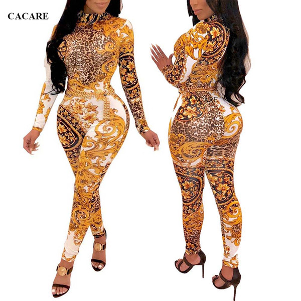 Print Long Jumpsuits for Women 2018 Rompers Women Overalls Playsuit Bodycon Bodysuit Ladies Jumpsuits F2908 Long Sleeve
