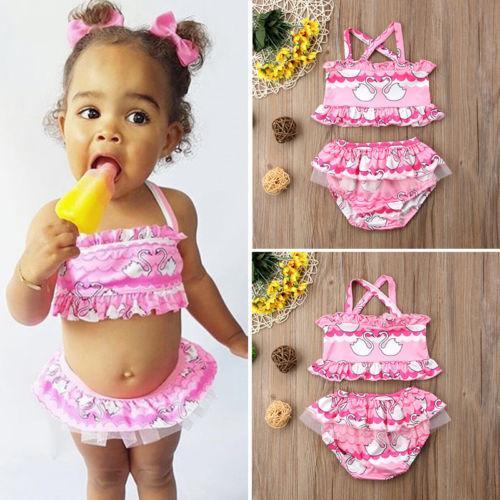 2 Adet Çocuklar Bebek Kız Tankini Mayo Karikatür Hayvan Baskı Mayo Bandaj Bikini Set Toddler Çiçek Yaz Mayo