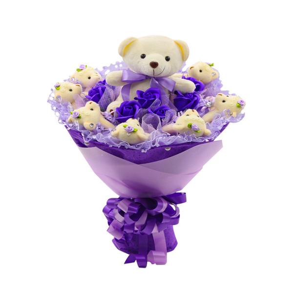 12PCS Cartoon Bouquet Packaging Material Plush Doll Bear Flower Shop Supplies Bag Flower Doll Bouquet Bear