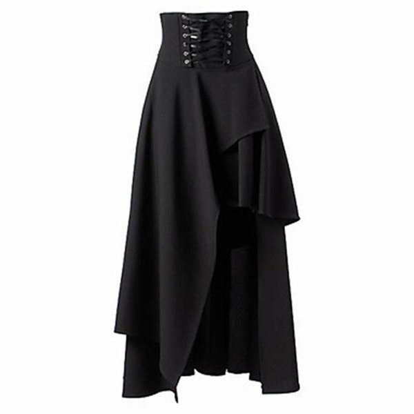 0f84bb71ef Women Skirt Spring 2019 New Gothic Lace Up Fashion Lolita Style Solid Black  Elegant Asymmetric Hem High Waist Ladies Midi Skirts