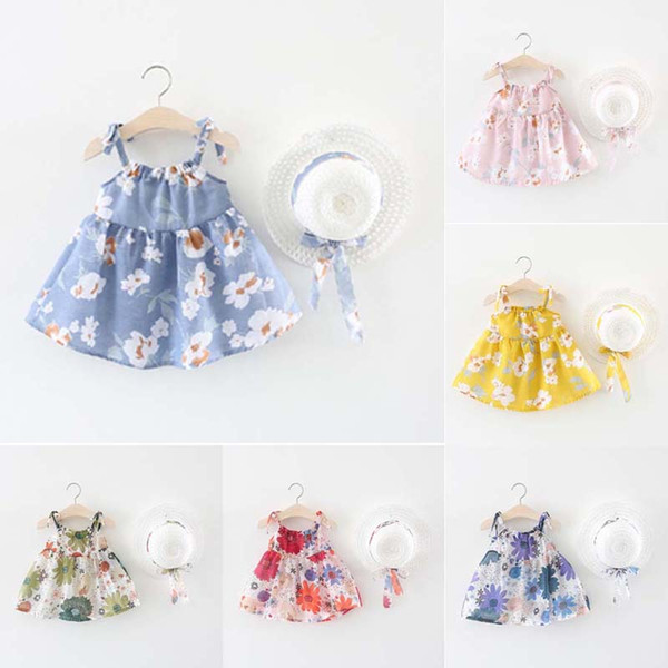 BNWIGE Baby Girls summer Dress With Hat 2pcs Set Cotton Print Floral sin mangas Baby Girl Clothes Birthday Party Princess Dress Vestido C21