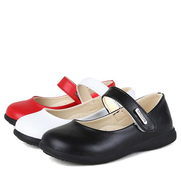 1 2 3 4 6 8 10 12 Yıl 2018 İlkbahar Sonbahar Yeni Moda Çocuklar Prensesler Tek Ayakkabı Beyaz Okul Kızlar Leanther Ayakkabı 25