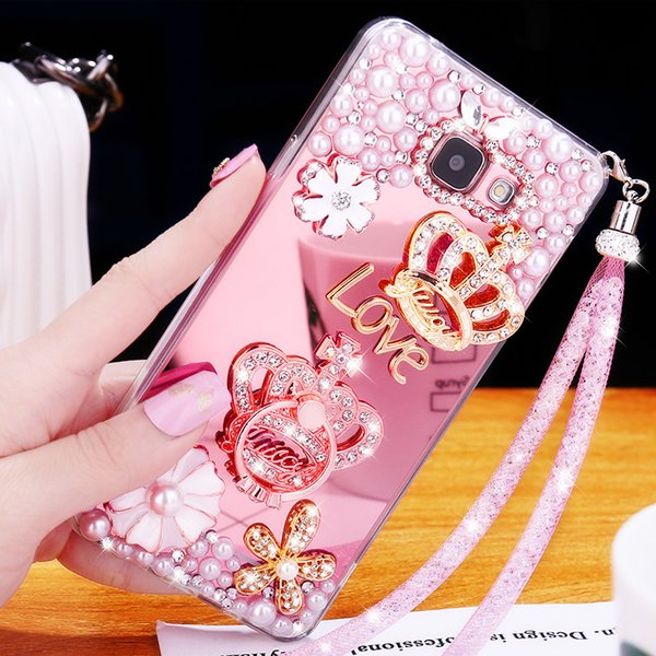 J7 Prime / On7 2016 Luxury Soft TPU Cover Mirror Case For Samsung Galaxy J5 Prime / On5 2016 Diamond Case Hello Kitty Case Capa