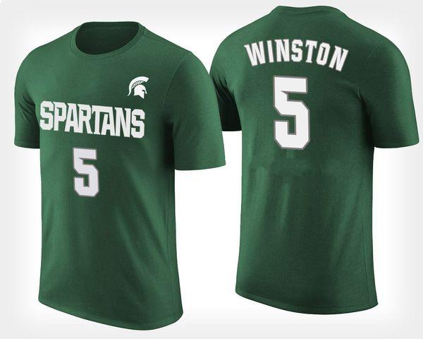 Green Michigan State Spartans para hombre # 5 Cassius Winston # 11 Lourawls Nairn Jr. # 0 Kyle Ahrens # 41 camiseta personalizada de Conner George