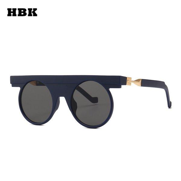 HBK Steampunk Sunglasses Men Round Steam Punk Vintage Googles Women Ladies Special Circle Glasses Coating 2019 Oculos UV400