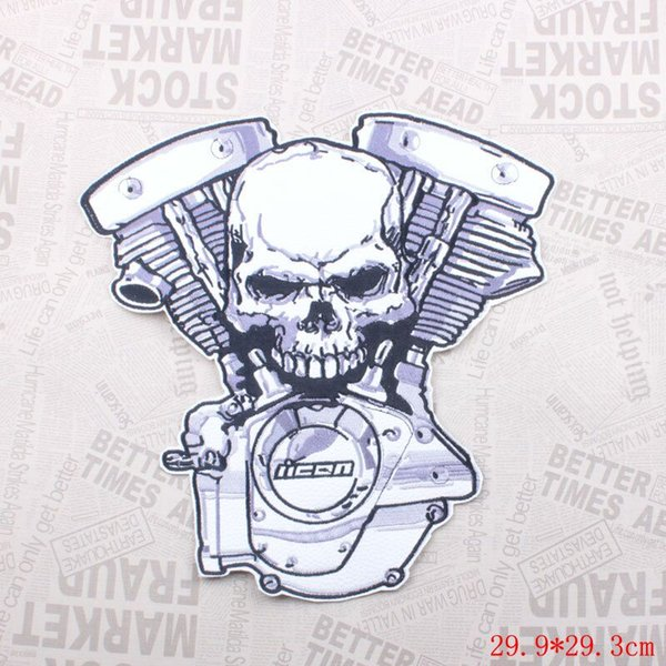 large size Embroidered skull Crossbones Motor Patches PU leather biker rider Iron On Patches Motorcycle for Jackets
