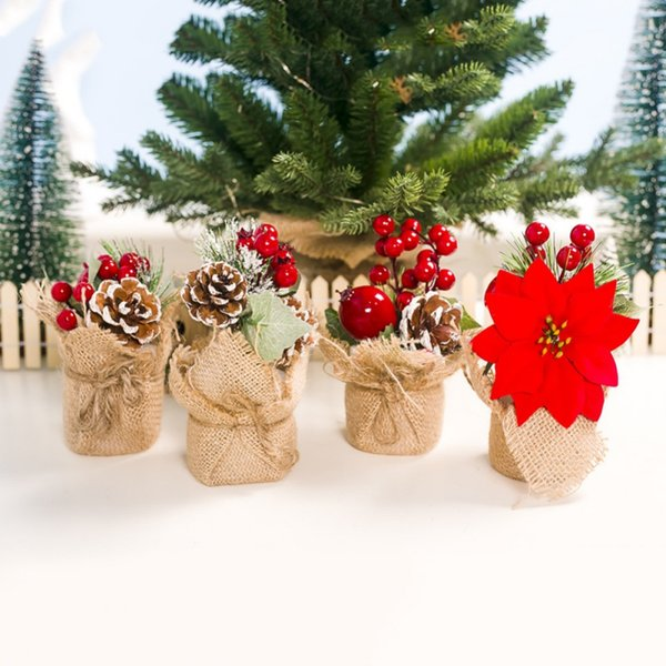6Inch Tall Mini Artificial Christmas Tree With Berries And Pine Cone Decorations Holiday Tabletop Ornament Flores Artificiales