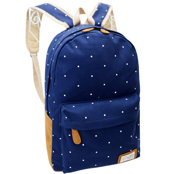 2019 fashion Women Girl Canvas Rucksack Polka Dot Backpack School Book Shoulder Bag