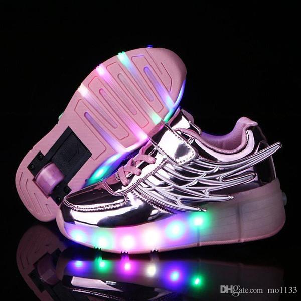Chaussures enfants avec lumières LED Baskets à roulettes pour enfants avec roues rougeoyante Led s'allument pour garçons filles Zapatillas Con Ruedas