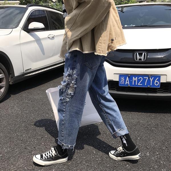2018 Autumn New Jeans Men Fashion Wash Casual Loose Denim Pants Man Streetwear Hip Hop Tear Hole Cowboy Trousers Male Clothes