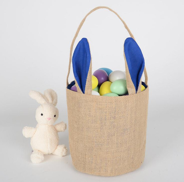 100pcs Burlap Easter Baskets Personalized Easter Bunny Buckets Bunny Ears Bucket Gift Bag Egg Organizer 5 Colors