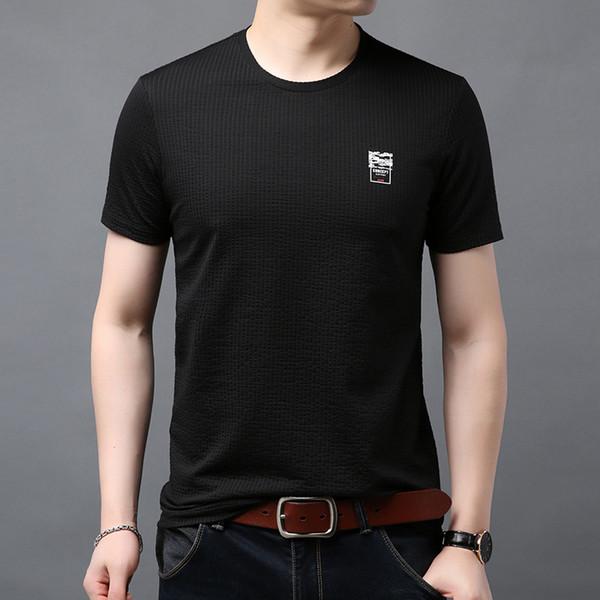 Original Japan 2019 new men's short-sleeved color stripes loose T-shirt Style Sleeve Edition Loose sleeve length Sho trend sea soul shirt