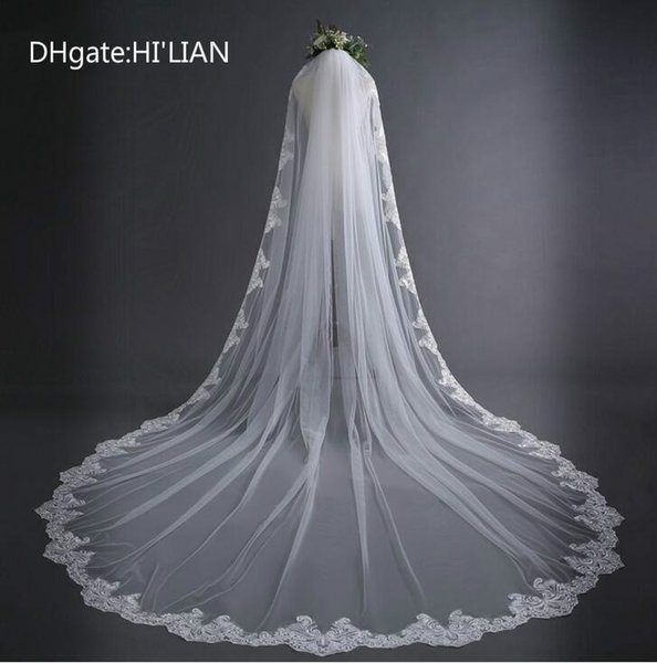 New 3 Meter White Cathedral Wedding Veils Long Lace Edge Bridal Veil with Comb Wedding Accessories Bride Mantilla Wedding Veil
