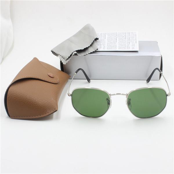 Vente en gros- Nouveau à la mode de haute qualité rétro marque designer lunettes de soleil cadre noir lentille en verre noir lunettes de protection UV400 protection cas brun