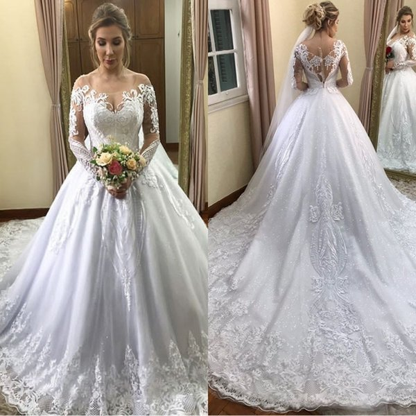 Discount 2019 Vintage Scoop A Line Long Sleeve Wedding Dresses Chapel Train  Applique Beaded Sequin Plus Size Bridal Wedding Gowns Muslim Wedding ...