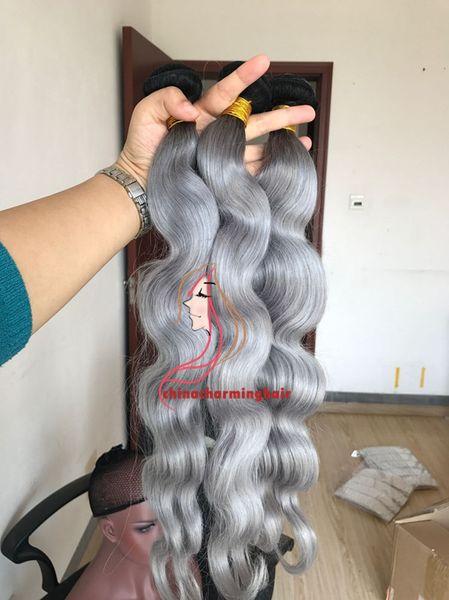 Brazilian Hair Wefts Human Hair Weave body wave Ombre 1B&Dark Grey two tone bundles Peruvian Malaysian Indian hair extensions