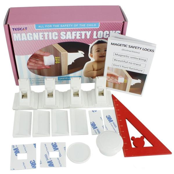 DAXGD la seguridad del bebé magnéticos Gabinete Cerraduras - No hay herramientas o tornillos necesarios (4 cierres + 1 llave) para el bebé de corrección de bastidor / conveniente de encendido / apagado Switc