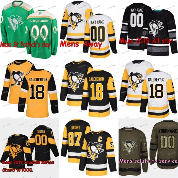 brand new 894b4 cd96c 2019 18 Alex Galchenyuk Pittsburgh Penguins Sidney Crosby Jake Guentzel  Evgeni Malkin Kris Letang Patric Hornqvist Bryan Rust DeSmith Jersey From  ...