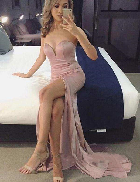 Simple Cheap Prom Dresses Long Sweep High Side Split Sexy Cocktail Party Gowns Sweetheart Maid of Honor Dress for Bride