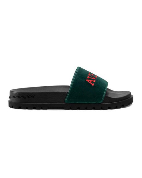 mens and womens fashion Green Velvet trek rubber Slide Sandals slippers With Embroidery thick moulded rubber foot bed
