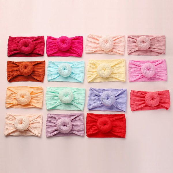 Baby Girl Nylon Headbands Turban Newborn Infant Toddler Hairbands Top Knot Child Hair Accessories Jacquard Weave 27Colors INS