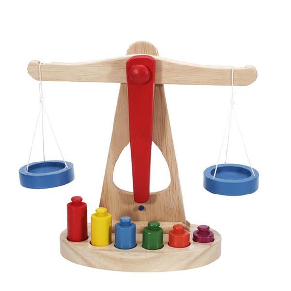 Brinquedo de bloco brinquedos de madeira escala de equilíbrio com 6 pesos grande para crianças crianças brincam aprendizagem 3d diy educacional quebra-cabeça conjuntos coloridos