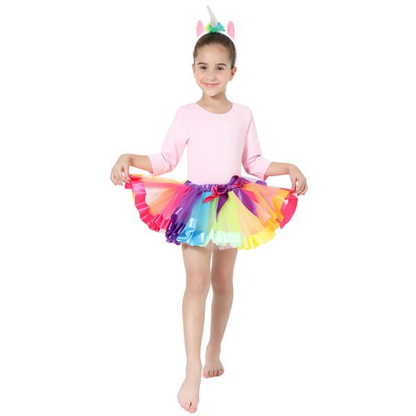 Ins pettiskirt meninas saia aniversário show dress saia princesa estilo doce tutu bebê saia de malha colorida