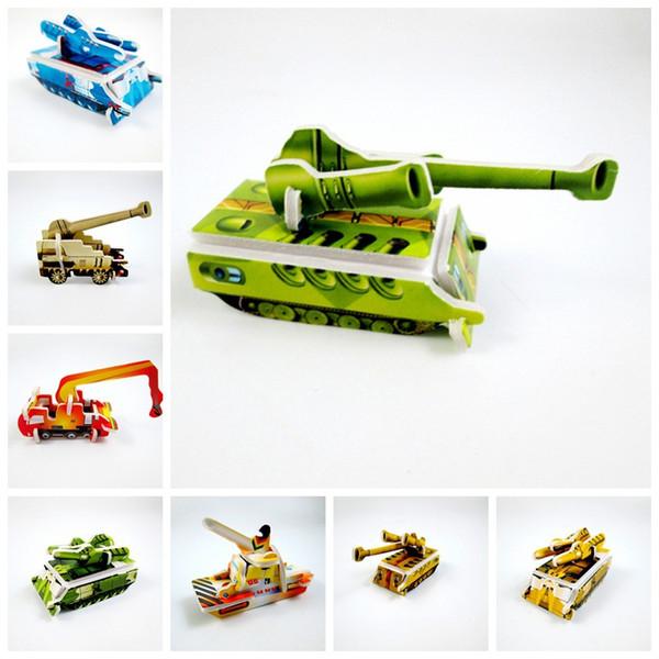 100 шт. / Компл. Creative Paper Tank Engineering автомобиль Миниатюрная 3D Модель Головоломки Головоломки Игрушки Для Детей Дети DIY Craft