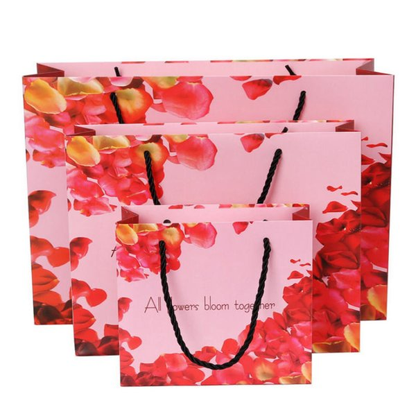 Rose Candy Cookie Paper Bag Pink Flower Chocolate Gift Box Wedding Party Biscuit Packaging Box Valentines Day Nougat Gift Bag high quality