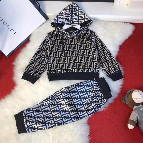 Ropa para niños ropa de marca 2019 otoño e invierno para niños y niñas conjunto exclusivo real shot original personalizado traje deportivo de dos piezas F1107